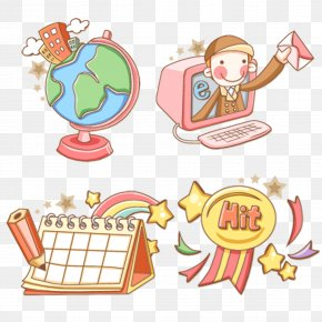 Cartoon Learning Life Cute Icon Material - Cartoon Clip Art PNG