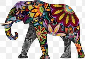 Hand Colored Flower Pattern Elephant - Elephant Decal Sticker Pattern PNG