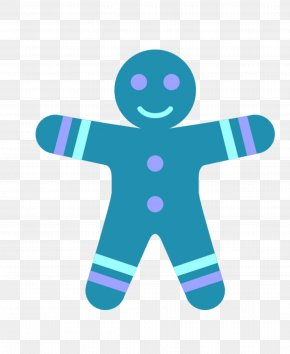 Blue Cartoon - Gingerbread Man ICO Icon PNG