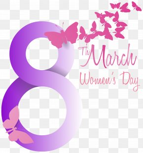 Soft Violet 8 March With Butterflies PNG Clipart Image - International Women's Day March 8 Clip Art PNG