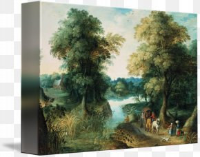 Landscape Painting - The Hunters In The Snow Painting Landscape With The Fall Of Icarus Winter Landscape With Skaters And A Bird Trap Canvas Print PNG