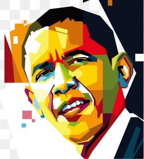 President Obama Back Suddenly Smile Vector Color Pixel Videos - Barack Obama United States WPAP Portrait PNG