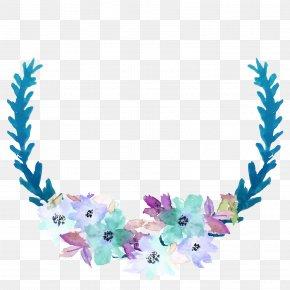 Blue Watercolor Flower Decorative Frame - Blue Clip Art PNG