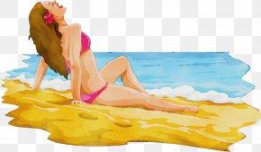 Bathing Bikini - Cartoon Sun Tanning Leisure Mattress Bikini PNG