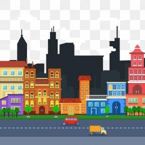 Vector Urban Transport - Cityscape Flat Design Skyline Clip Art PNG