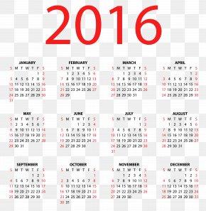 Transparent Calendar For 2016 Clipart Image - Calendar Euclidean Vector Clip Art PNG