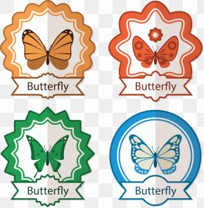 Vector Painted Butterfly Tag - Butterfly Euclidean Vector Vecteur Icon PNG