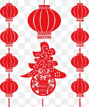 Chinese New Year Lantern Lantern - Papercutting Celebrate Chinese New Year Lantern PNG