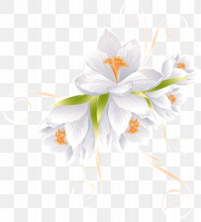 White Flower Decor Transparent Clip Art Image - Flower Clip Art PNG