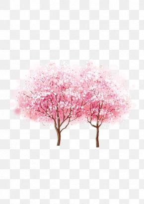 Cherry Blossom - Cherry Blossom Watercolor Painting Ink Wash Painting PNG
