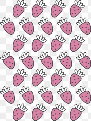Hand Painted Pink Strawberry Pattern - Motif Pattern PNG