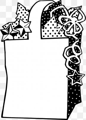 Black And White - Gift Bag Clip Art PNG
