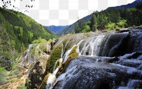 Jiuzhaigou Pearl Beach Waterfall - Jiuzhaigou Pearl Shoal Waterfall Huanglong Tourism PNG