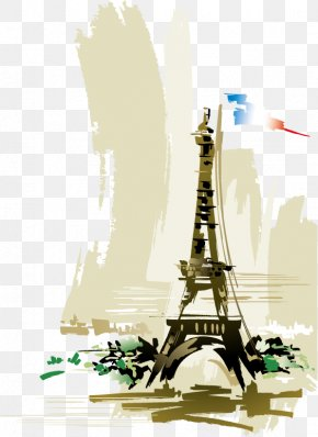 Abstract Eiffel Tower - Eiffel Tower Watercolor Painting Art PNG
