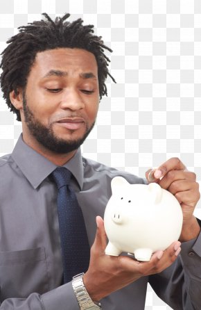 Male Hand Putting Coin Into A Piggy Bank - Piggy Bank Money Coin PNG
