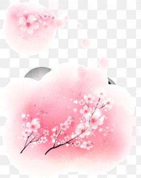 Peach Pink Decorative Pattern Vector Material - Cherry Blossom Pink Fundal PNG