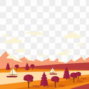 Autumn Small River Scenery - Landscape Euclidean Vector Illustration PNG