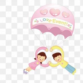 Loving Couples Parachute Ride - Couple Clip Art PNG