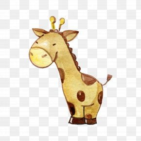 Watercolor Giraffe - Northern Giraffe Watercolor Painting Clip Art PNG