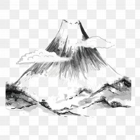 Wash Mountain - Japanese Art Ink Wash Painting Japanese Painting PNG