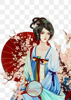 Beauty Of The Red Umbrella - Vietnam Wen County, Henan Beauty Illustration PNG