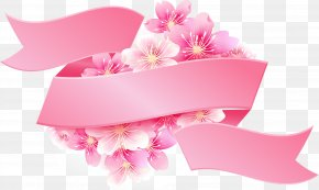 Vector Painted Pink Cherry Label - Pink Ribbon Pink Flowers PNG