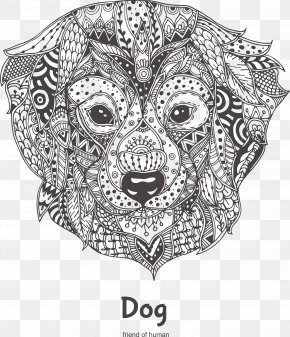 Hand-painted Pattern Positive Dogs Face - Dog Coloring Book Animal Pattern PNG