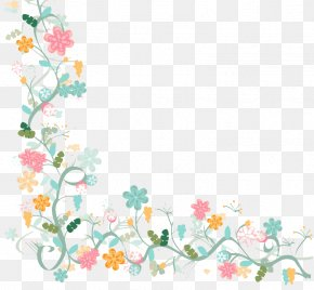 Watercolor Floral Border Background Vector Material - Flower Watercolor Painting PNG