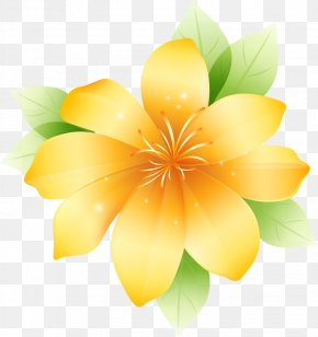Yellow Large Flower Clipart - Flower Drawing Graphics Clip Art PNG