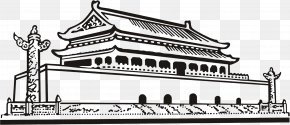Simple Black And White Line Pen Tiananmen - Monument To The Peoples Heroes Tiananmen Temple Of Heaven Great Wall Of China National Museum Of China PNG