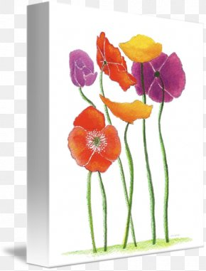 Poppy Field - Floral Design Acrylic Paint Cut Flowers Watercolor Painting Vase PNG