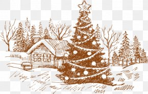 Hand-painted Christmas Tree House Pattern - Christmas Card Christmas Tree Drawing Illustration PNG