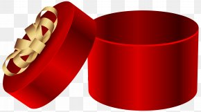 Red Open Round Gift Box Clipart Image - Gift Box Clip Art PNG
