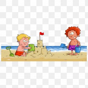 Vector Child Playing In The Sand On The Beach - Stock Photography Drawing Clip Art PNG
