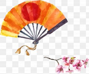 Japanese Wind Vector Illustration - Japanese Art Watercolor Painting Illustration PNG