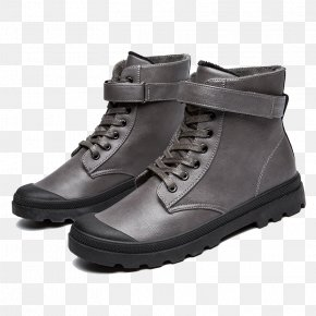 Round Hiking Boots Gray - Hiking Boot Fashion Shoe Footwear PNG
