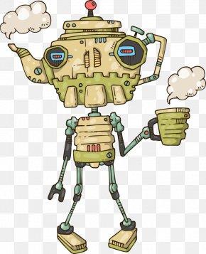 Vector Teapot Robot - Robot Cartoon Teapot Illustration PNG