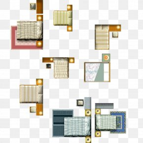 Bed And Bedside Table Layout - Nightstand Table Floor Plan Bed Furniture PNG