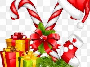 Orange Candy Cane - Candy Cane Christmas Santa Claus Christmas Candy Canes Christmas Day PNG
