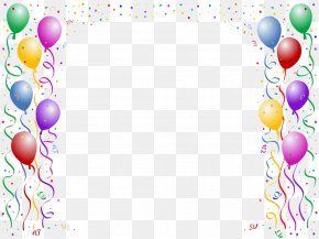 Colorful Balloons Border Celebrate - Birthday Cake Wish Happy Birthday To You Party PNG