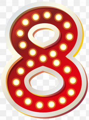 Red Number Eight With Lights Clip Art Image - Download Clip Art PNG