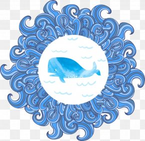 Blue Dolphin Wave Pattern - Watercolor Painting Royalty-free Wave Illustration PNG