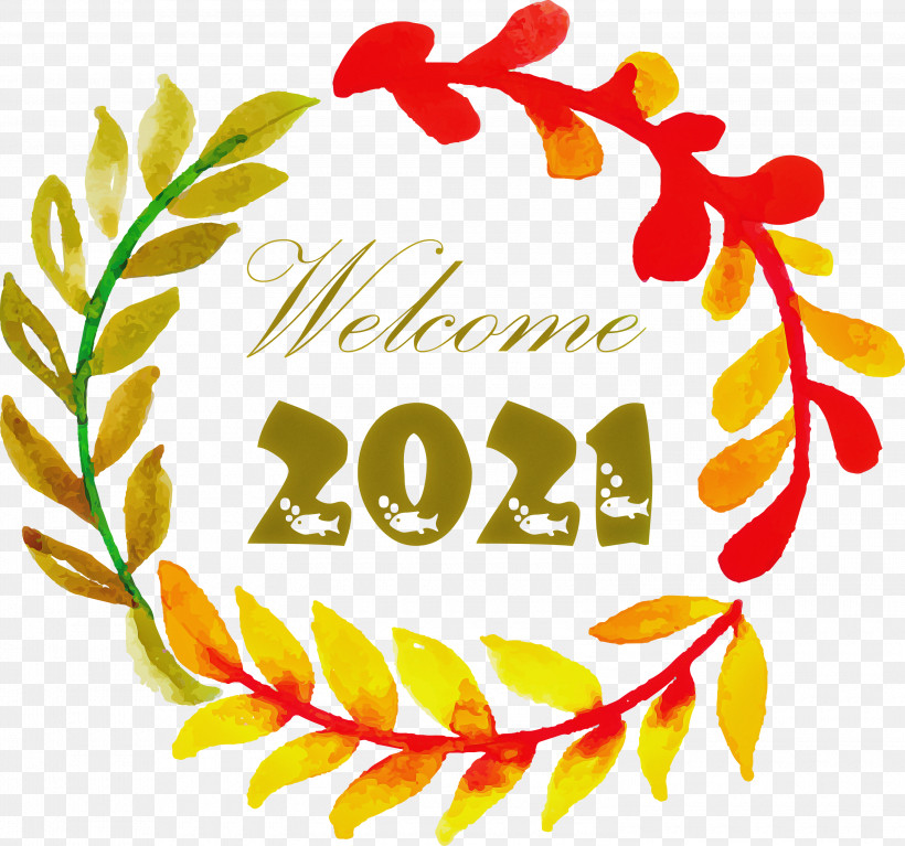 Happy New Year 2021 Welcome 2021 Hello 2021, PNG, 3000x2808px, Happy New Year 2021, Cartoon, Christmas Day, Drawing, Floral Design Download Free
