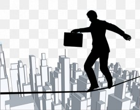 City Men's Tightrope - Tightrope Walking Drawing Stock Illustration Clip Art PNG