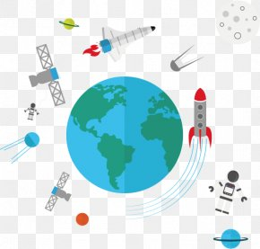Creative Cartoon Spaceship Space And Earth - Spaceship Earth Outer Space PNG