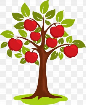 Vector Cartoon Apple Tree - Cartoon Clip Art PNG