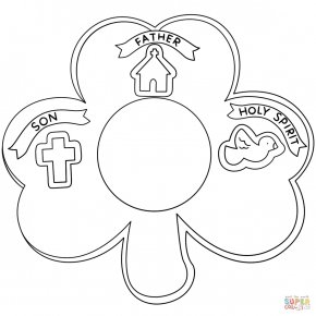Trinity Shamrock Cliparts - Bible Trinity Coloring Book Shamrock Christianity PNG