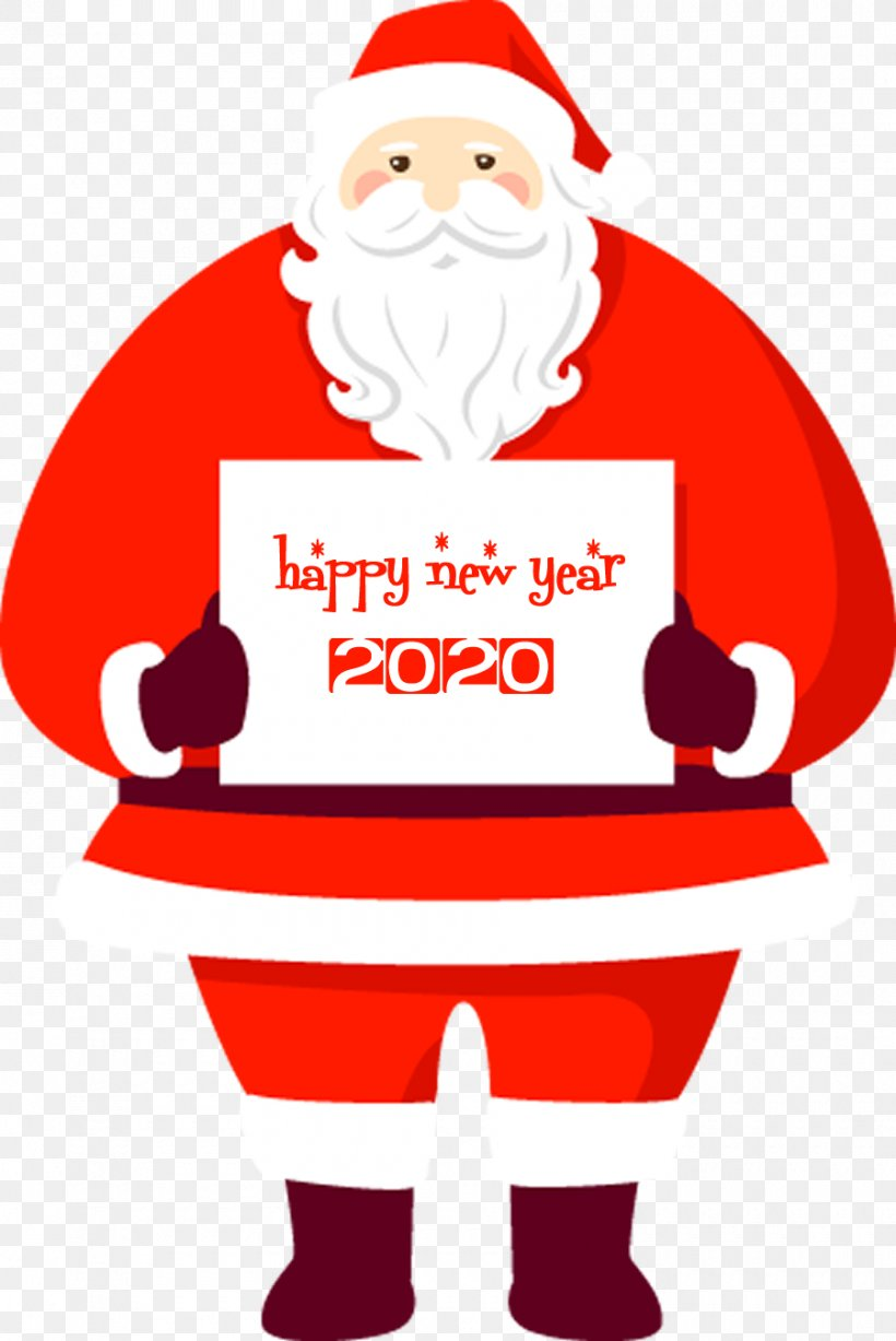 Happy New Year 2020 Santa, PNG, 900x1347px, 2020, Happy New Year, Cartoon, Christmas, Christmas Eve Download Free