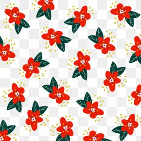 Red Floral Pattern - Floral Design Flower Poinsettia Red Pattern PNG