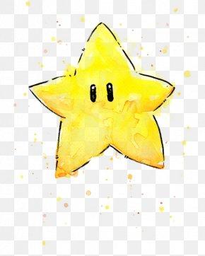 Watercolor Star - Super Mario Bros. Princess Peach Watercolor Painting PNG